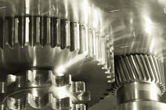 Gear machinery in duplex light-bronze Royalty Free Stock Image