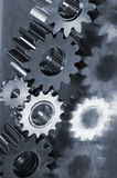 Gear machinery in metallic blue-idea Royalty Free Stock Image