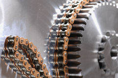 Gear-machinery powered by chain Royalty Free Stock Photo
