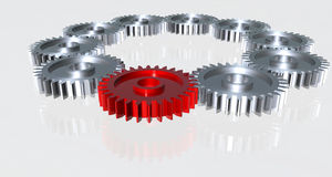 Gear made of chrome Royalty Free Stock Image