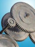 Gear mechanism. On gradient background. Digital illustration Stock Image