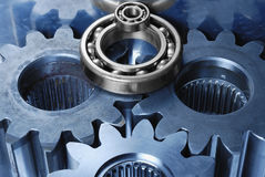 Gear mechanism in blue and sil Royalty Free Stock Image
