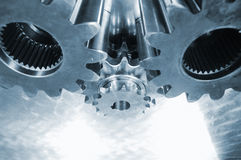 Gear mechanism in blue steel Royalty Free Stock Photo