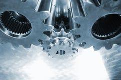 Gear mechanism in blue steel Royalty Free Stock Photo