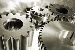 Gear mechanism in brown Royalty Free Stock Image