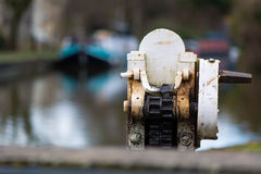 Gear mechanism for canal lock Stock Photo