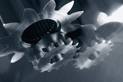 Gear mechanism in dark blue Royalty Free Stock Photo