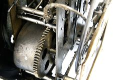 Gear in mechanism of the old clock Royalty Free Stock Images