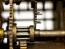 Gear in mechanism of the old clock. Royalty Free Stock Photo