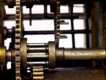 Gear in mechanism of the old clock. Royalty Free Stock Photos