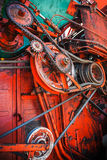 Gear mechanism of old combine harvester Royalty Free Stock Photos
