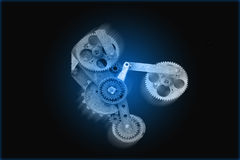 Gear Mechanism Over Blue Royalty Free Stock Images