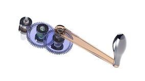 Gear mechanism. Rendering of model glass gear mechanism Stock Photo
