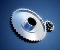 Gear metal wheels close-up. 3d illustration of gear metal wheels close-up Royalty Free Stock Photo