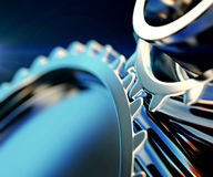 Gear metal wheels close-up Stock Photos