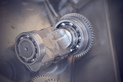 Gear metal wheels close-up. Gears and cogs macro Royalty Free Stock Image