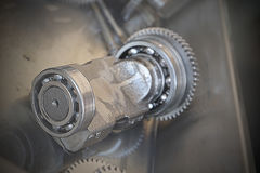 Gear metal wheels close-up. Gears and cogs macro Stock Images