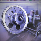 Gear metal wheels close-up. Gears and cogs macro Royalty Free Stock Images