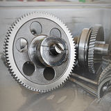 Gear metal wheels close-up. Gears and cogs macro Stock Photography
