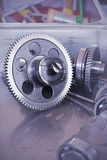 Gear metal wheels close-up. Gears and cogs macro Stock Photo