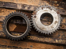 Gear metal wheels close-up. Stock Images