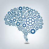 Gear Mind. A working mind using many gears Stock Image