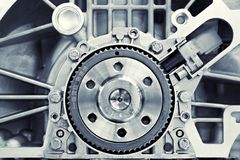 Gear in a motor. Toned shot of a gear in a motor Royalty Free Stock Photography