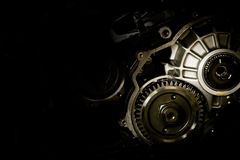 Gear motor cars on black background Stock Image