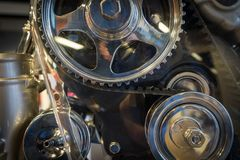 The gear of a motor in machine.  Royalty Free Stock Images