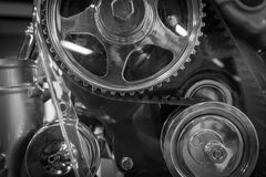 The gear of a motor in machine.  Royalty Free Stock Photography