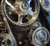 The gear of a motor in machine.  Royalty Free Stock Photos