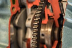 The gear of a motor in machine.  Royalty Free Stock Image