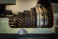 The gear of a motor in machine.  Stock Photos