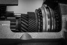 The gear of a motor in machine.  Royalty Free Stock Photo
