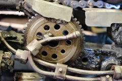 Gear in the old mechanism. Selective focus. abstract industrial background Stock Photography