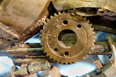 Gear in the old mechanism. Selective focus. abstract industrial background Stock Photos