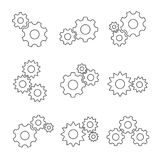 Gear outline flat set Stock Photography