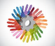 Gear over diversity hands circle illustration Royalty Free Stock Photos