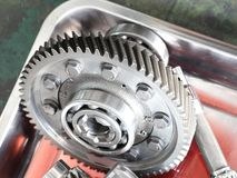 The Gear parts from car transmission. Dis-assembly royalty free stock image
