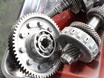 The Gear parts from car transmission. Dis-assembly stock photos