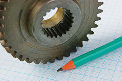Gear and pencil Royalty Free Stock Photography