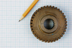 Gear and pencil Royalty Free Stock Images