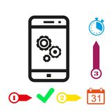 Gear phone icon stock vector illustration flat design. Icon stock vector illustration flat design style Royalty Free Stock Image