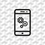 Gear phone icon stock vector illustration flat design. Icon stock vector illustration flat design style Royalty Free Stock Photos