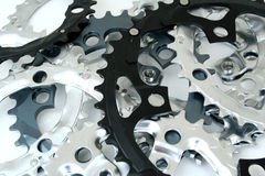 Gear Pile. A messy pile of bicycle gears stock image
