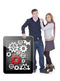 Gear presentation. Young couple presentation gear machine stock image