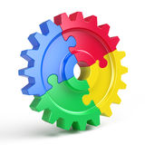 Gear puzzle - business teamwork and partnership concept. 3d rendering Stock Images