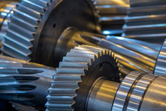 Gear reducer. Steel rotation engine Royalty Free Stock Photos