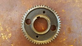 Gear rotary parts, the main driving component on the engine. In the machine block stock photo
