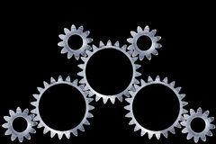 Gear set. Meshing gears with clipping paths Royalty Free Illustration
